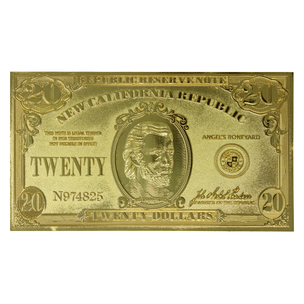 """Fallout New Vegas 24K Gold Plated Card """" $20 Bill"""" Limited Edition"""