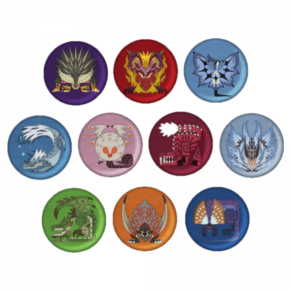 MONSTER HUNTER EMBROIDERED PIN BADGES MONSTER ICONS