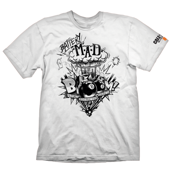 CALL OF DUTY BLACK OPS 4 T-SHIRT BATTERY MAD WHITE